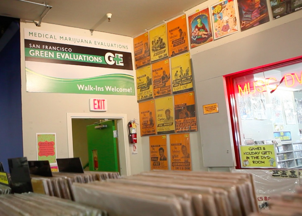 Green Evaluation in Amoeba Records has closed — part of a wave of doctors offices closures amid legalization. | Photo still from video by Alix Martichoux
