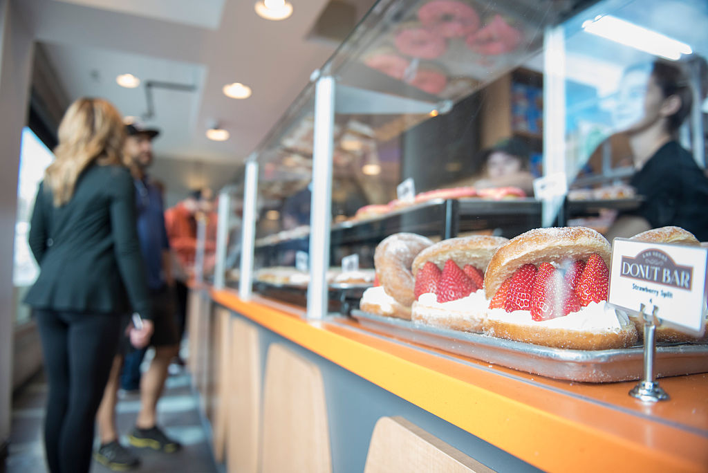 The Donut Bar's strawberry split donuts on display on Saturday, January 14, 2017. | Getty