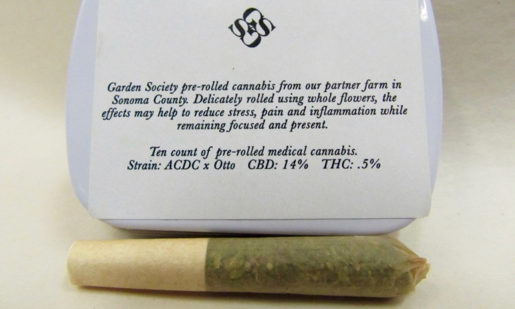 Marijuana packaging: The label for these mini pre-rolls shows they're high in CBD.   Photo by David Downs