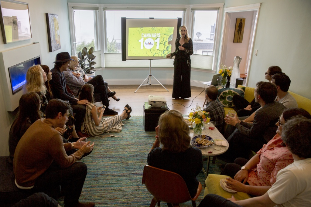 Amanda Jones, Kikoko co-founder, leads a cannabis 101 class in a private home in San Francisco on April 6, 2018. | Photo by Santiago Mejia, San Francisco Chronicle