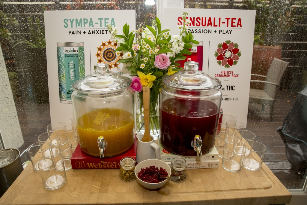 Two types of Kikoko cannabis-infused tea was served, along with information about its dosage, at a recent cannabis social. | Photo by Santiago Mejia, San Francisco Chronicle