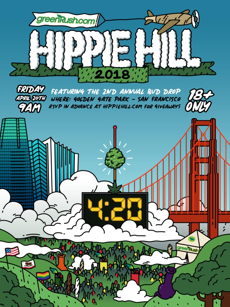 San Francisco's 420 Hippie Hill 2018 event poster
