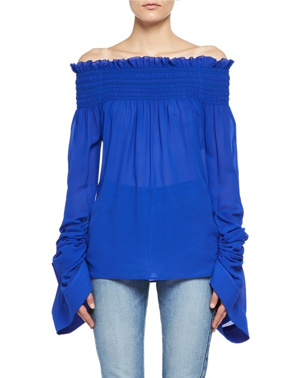 A blue Saint Laurent off-the-shoulder top in silk georgette would lend a bohemian air to a 4/20 outfit. $1,990 at Neiman Marcus.