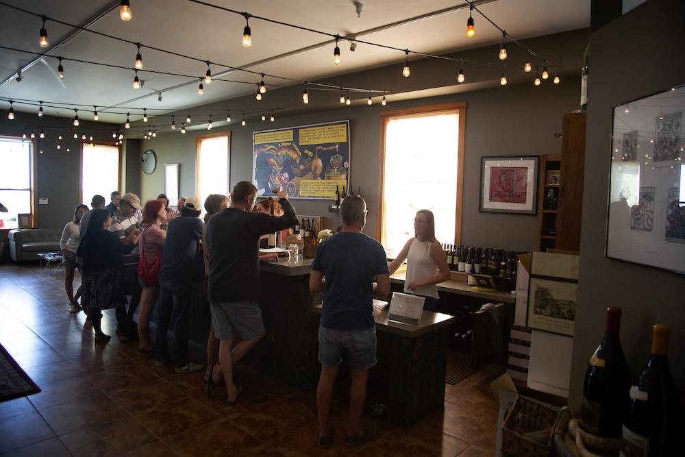 Bonny Doon, Vineyard, Sant Cruz Mountains, winery, wine, tasting room, people drinking wine, Davenport, California, Syrah, Randall Grahm, The Press