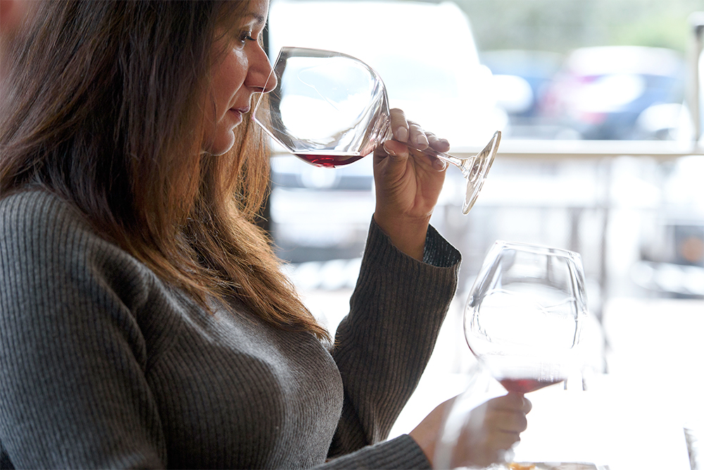 woman, wine tasting, smelling, etiquette
