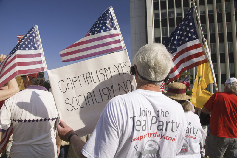 Tea Party ralliers outside Federal Building in Los Angeles in 2009