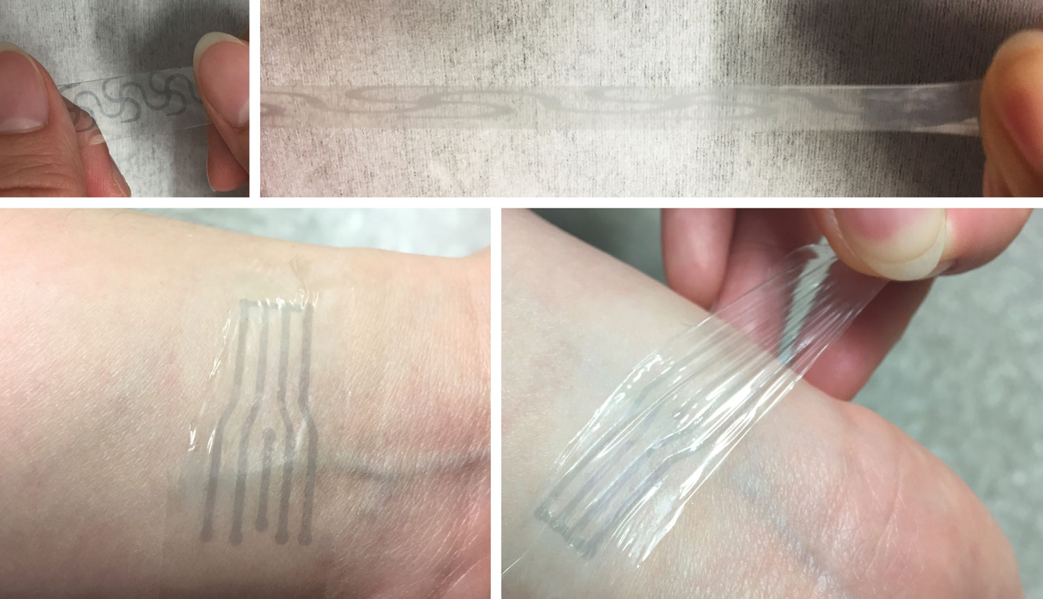 """A printed electrode pattern of the new polymer being stretched to several times of its original length (top), and a transparent, highly stretchy """"electronic skin"""" patch forming an intimate interface with the human skin to potentially measure various biomarkers (bottom)."""