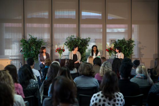 The TomKat Center for Sustainable Energy presents Women Entrepreneurs in Sustainability 2017 at Huang Engineering Center: (L-R) Stacey Bent, director of the TomKat Center; Christine Su, PastureMap; Ugwem Eneyo, Solstice; Hedi Razavi, Keewi.