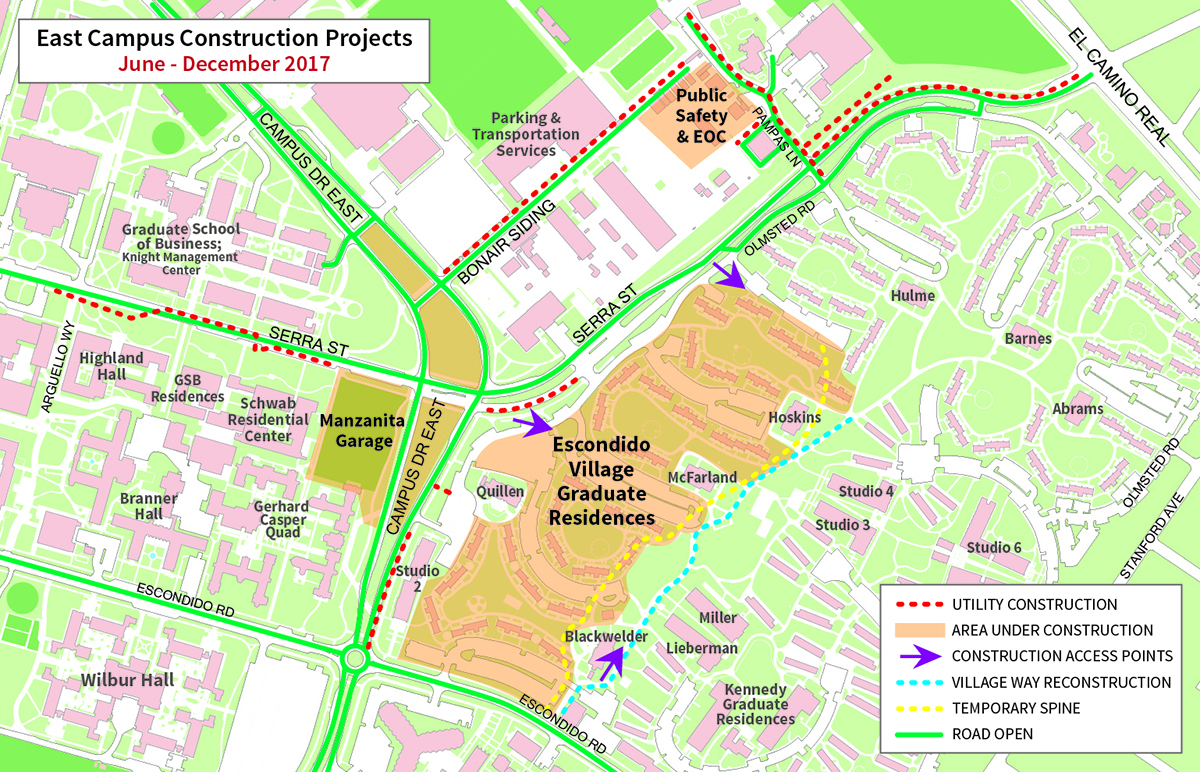 east campus construction to ramp up in summer  stanford news - map of east campus construction projects junedecember