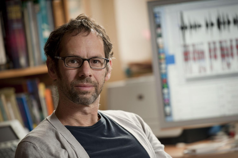 Linguistics professor Dan Jurafsky in his office