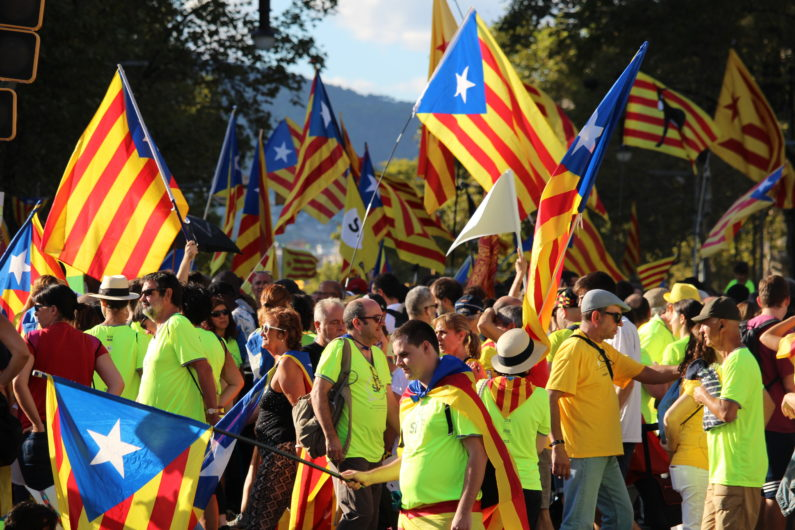 Catalan demonstrators participating at a rally for the independence of Catalonia in Barcelona on Sept. 11. (Image credit: DinoGeromella/Getty Images)