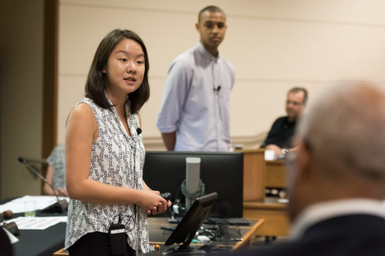 Vicki Niu and Justice Tention of the Associated Students of Stanford University speaking at 10/27/17 Faculty Senate meeting.