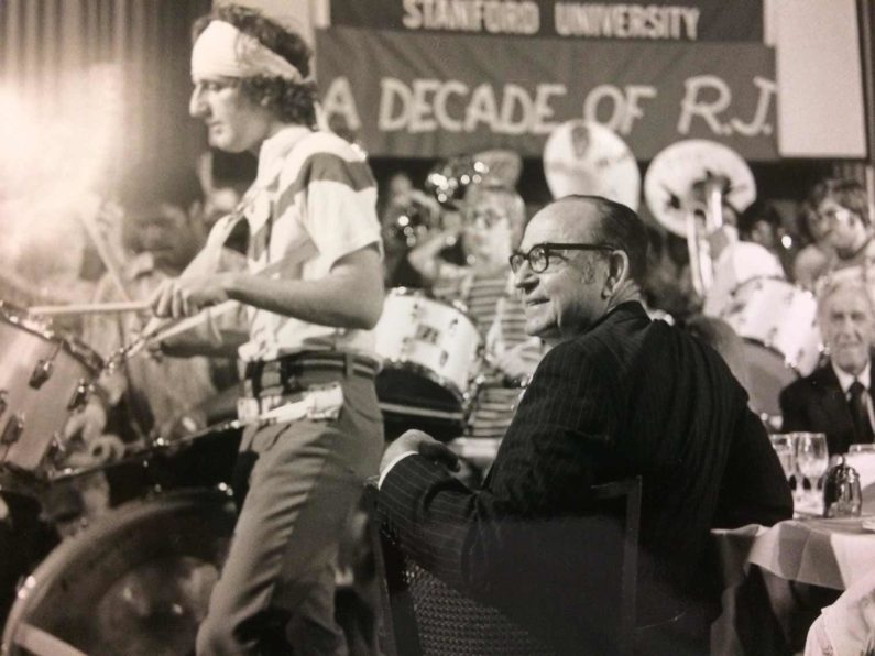Miller is serenaded by a student band during his 1979 retirement party at GSB.