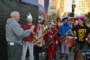 President Hennessy and the Stanford Band.