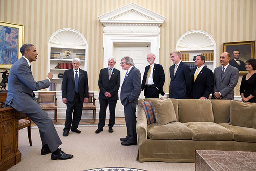 President Barack Obama meets with Kavli Prize laureates from left, Andre Linde, Stanford; John O'Keefe, University College London, Alan Guth, MIT, and Marcus E. Raichle, Washington University in St. Louis School of Medicine. Accompanying the laureates are Kåre R. Aas, the Norwegian Ambassador to the United States; Rockell N. Hankin, chairman of the Kavli Foundation; Robert W. Conn, president of the Kavli Foundation and Miyoung Chun, executive vice president of science programs at the  Kavli Foundation.