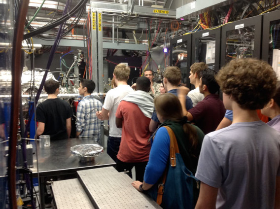 A group of students in a lab.