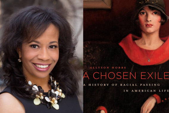 """Photo of Allyson Hobbs and her book cover.  """"A Chosen Exile"""""""