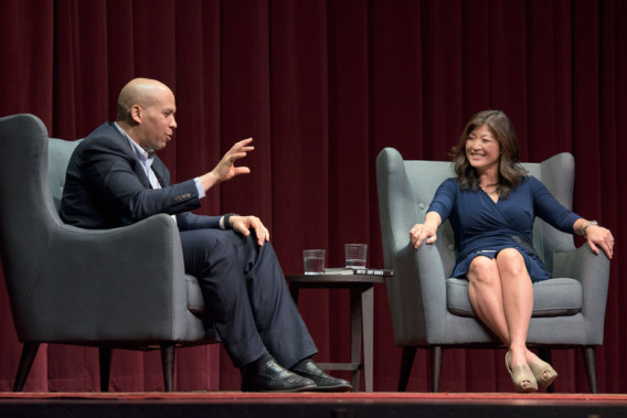 """Stanford alumnus and U.S. Senator Cory Booker '91 with ABC's Nightline anchor and alumna Juju Chang '87 in an OpenXChange conversation at Dinkelspiel Auditorium.  """"United: Saturday with Senator Cory Booker"""" is sponsored by OpenXChange in partnership with the Stanford Alumni Association, the Haas Center for Public Service, Stanford in Government (SIG), and the Associated Students of Stanford University (ASSU)."""