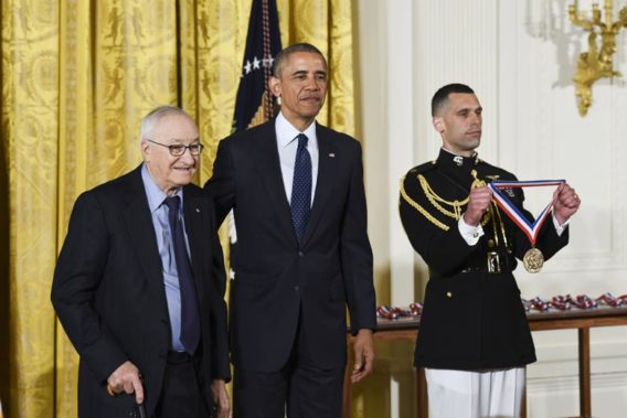 Albert Bandura with President Barack Obama (Photo credit: Ryan K. Morris and the National Science & Technology Medals Foundation)
