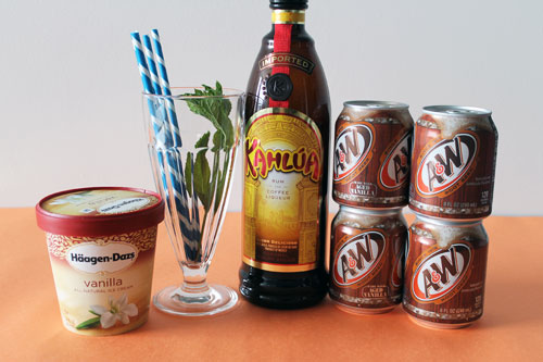 The Spiked Root Beer Float: kahlua, root beer, vanilla ice cream, mint