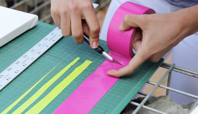 DIY Duct Tape Canvas Art in 90 Seconds | Brit + Co