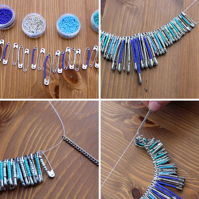 How to create beaded baubles with safety pins brit co for Safety pin and bead crafts