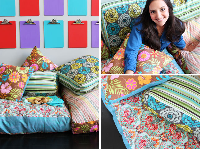 Make Your Own Large Floor Pillows : How to Create Your Own Colorful Jumbo Floor Pillows Brit + Co