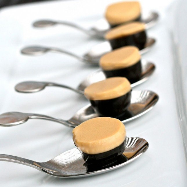 Guinness and Bailey's Jello Shots on serving spoons