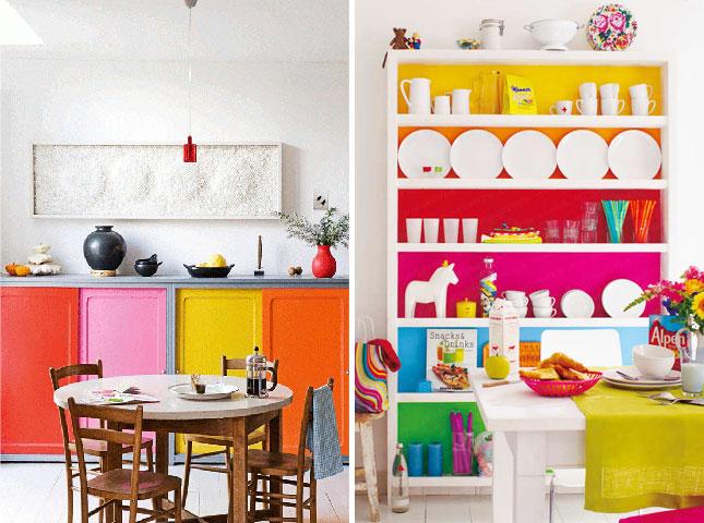15 inspiring color blocked interiors brit co for Multi color kitchen ideas