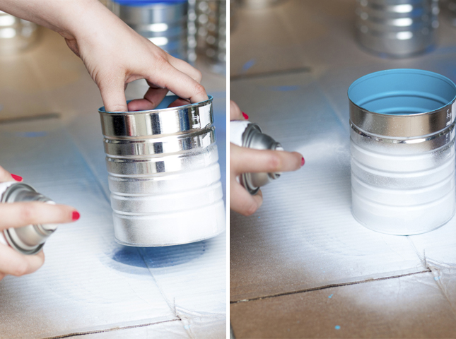 Spray the exterior of the cans