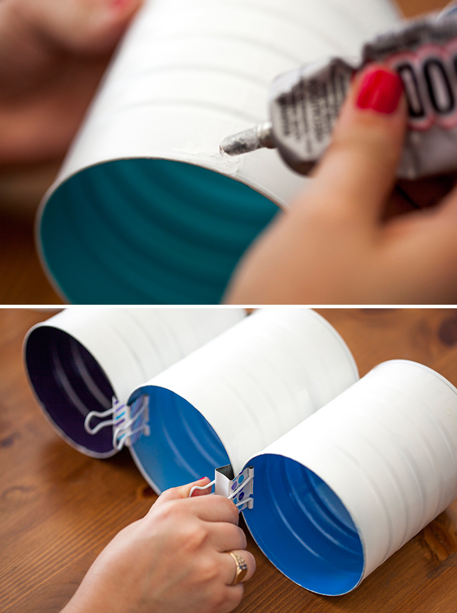 Glue the cans into rows