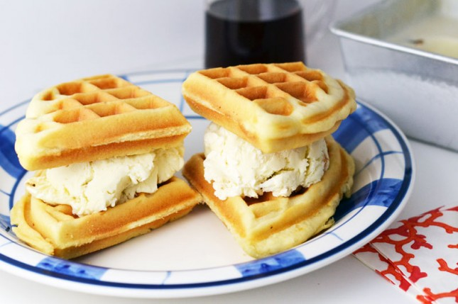 Dessert for Breakfast: Maple Bacon Ice Cream with Waffles | Brit + Co