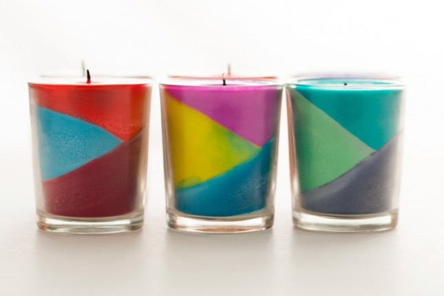 Use crayons to create color block candles brit co for How to make candle sticks