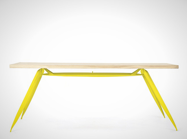 Nogi Table ($707): Go bold with these neon legs at a severe angle.