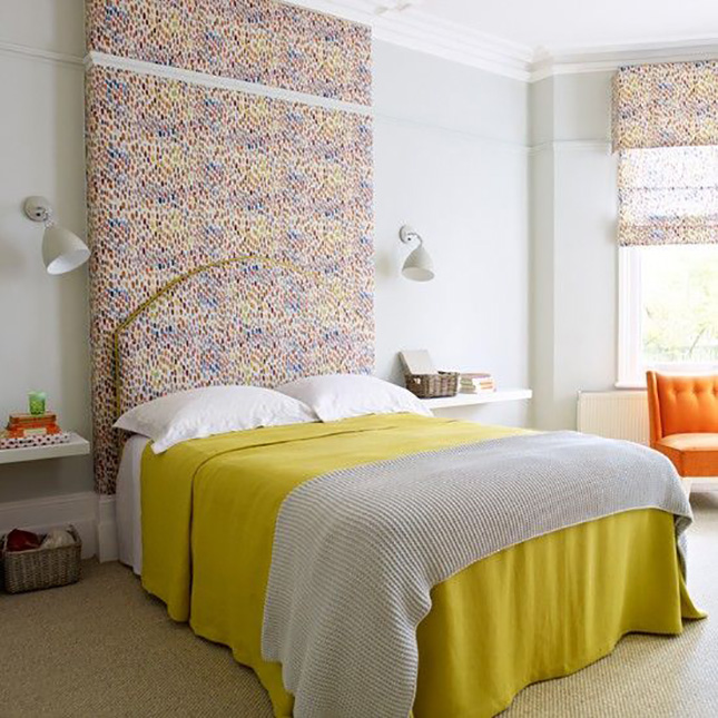 is more. This bold mix of color across the splatter patterned curtains ...