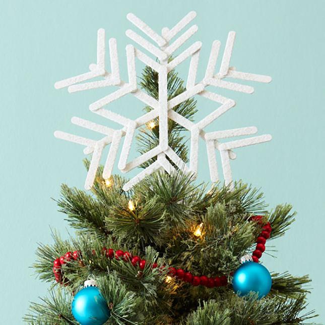 popsicle stick snowflake tree topper brit co. Black Bedroom Furniture Sets. Home Design Ideas