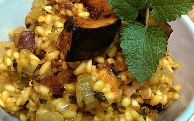 Roast Turks Turban Squash and Duck Bacon Risotto : Are you in a ...
