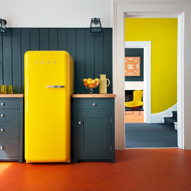 14 bright yellow fridge