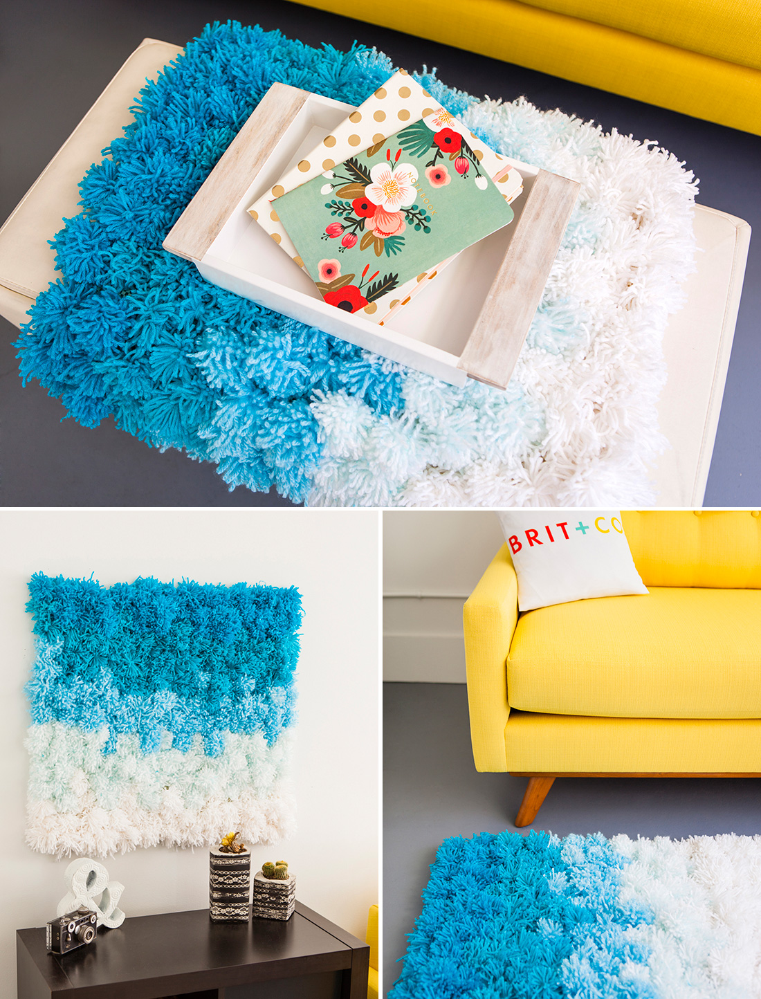 large pompom rug, wall hanging and table runner