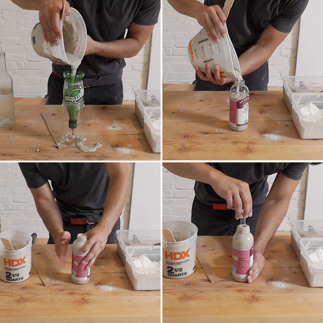 Use old bottles to make chic concrete vases brit co for How to cut a bottle to make a glass