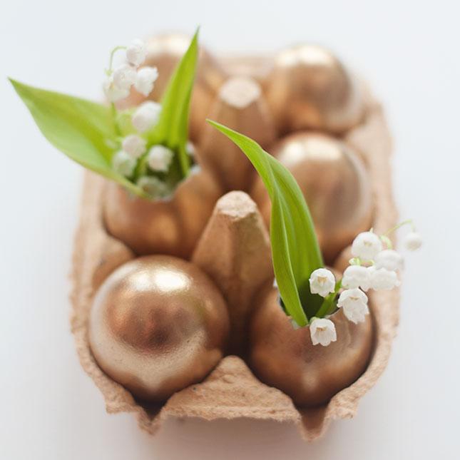 metallic gekleurde eiervaasjes