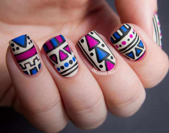 Pink and Black Tribal Nails Designs