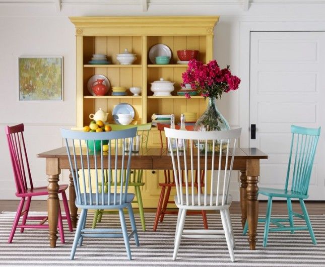 20 reasons to update your furniture with paint brit co for Colorful dining chairs