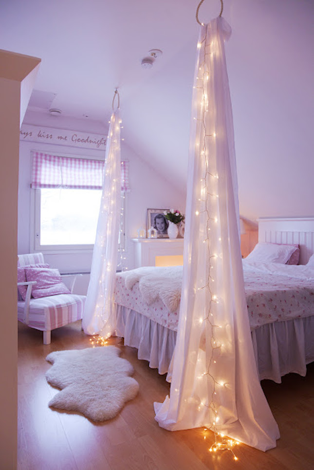 18 whimsical ways to decorate with string lights brit co for Diy princess bedroom ideas