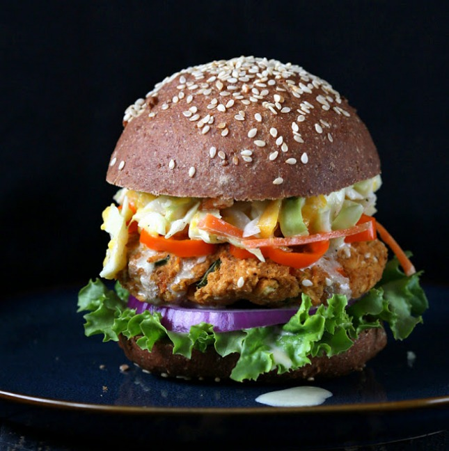 Lentil Burger with Mango Carrot Slaw : Half of the fun of burgers ...