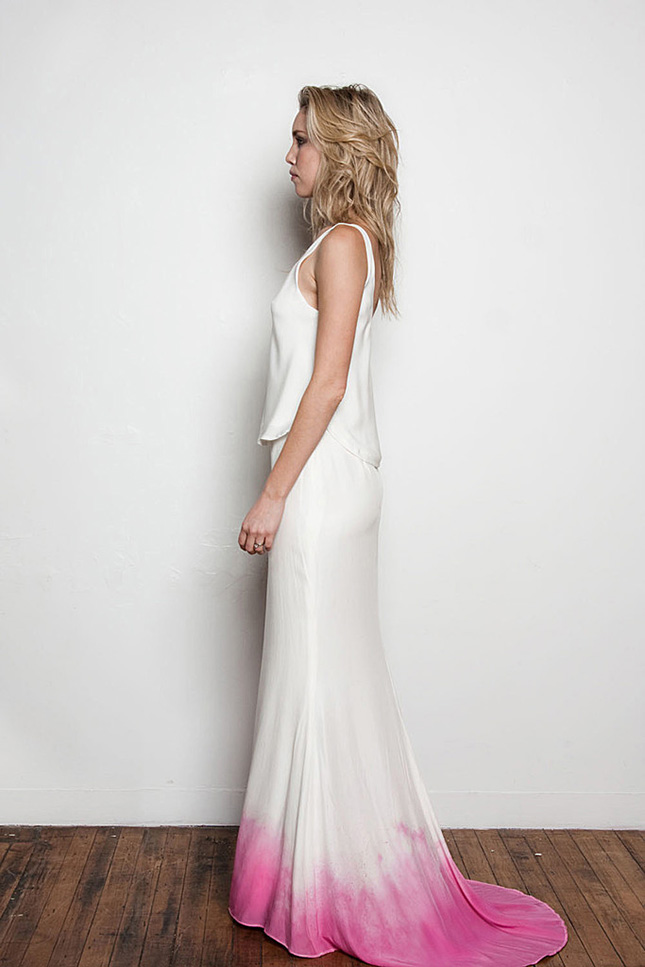 Beyond white 15 ombre wedding gowns brit co for Pink ombre wedding dress
