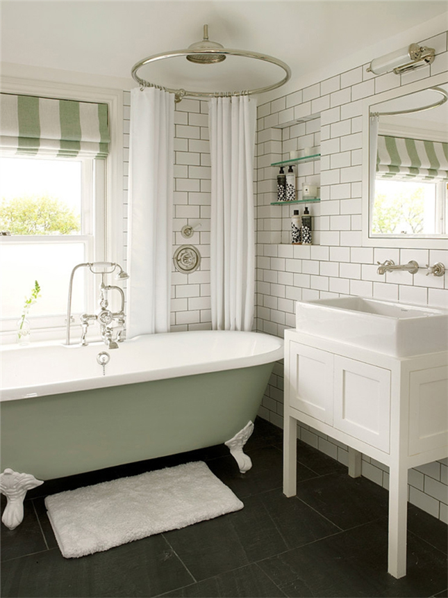 20 bathrooms we wouldn t mind sitting around in brit co for Sage bathroom accessories