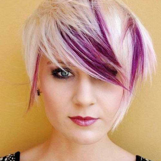 18. Blonde and Purple : Blonde + purple = super bold statement. Bangs ...