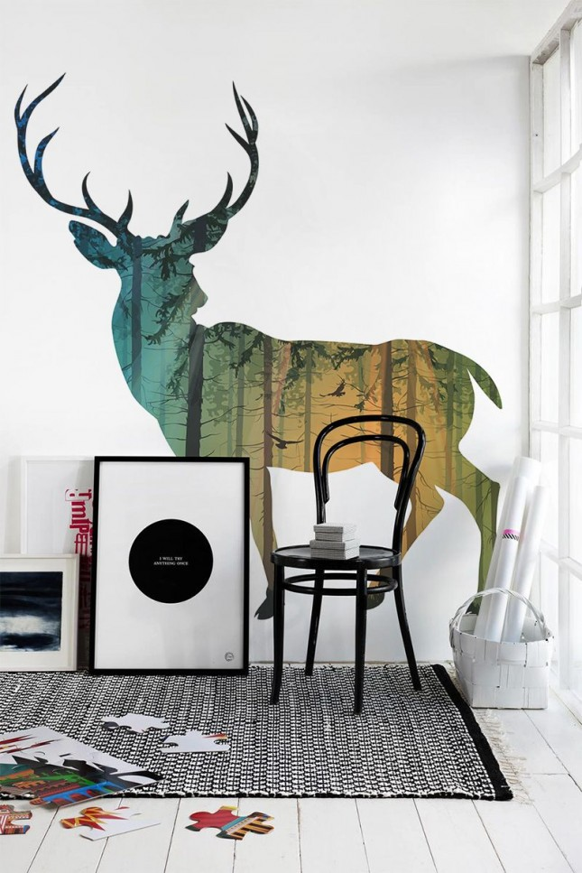 48 eye catching wall murals to buy or diy brit co for Deer wall mural
