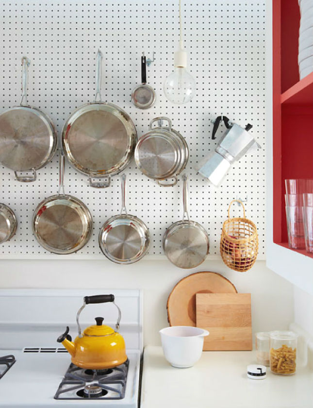 20 big ideas for small kitchens brit co for Kitchen pegboard ideas